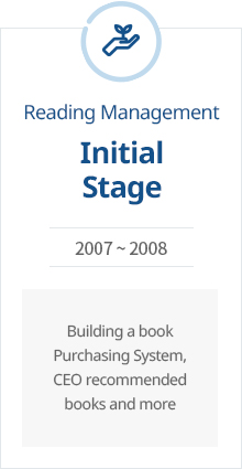 Initial Stage of Reading Management 2007 ~ 2008 Building a book purchasing system, CEO recommended books and more